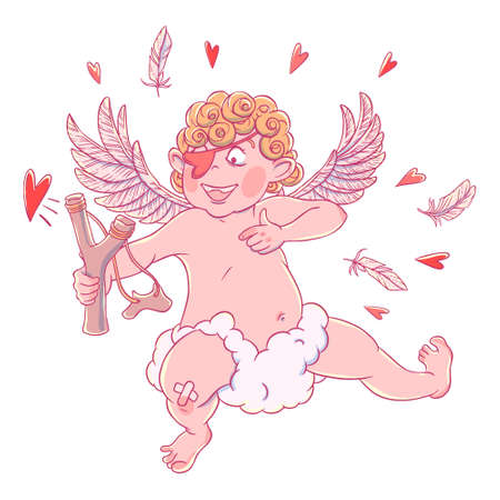 Valentines day. Funny Cupid with patch on the knee on a cloud shoots with a slingshot. Illustration