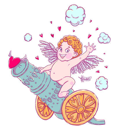 Valentines day. Funny Cupid-boy riding on a cannon firing hearts.