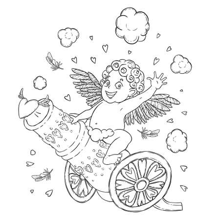 prankster: Valentines day. Funny Cupid-boy riding on a cannon firing hearts.