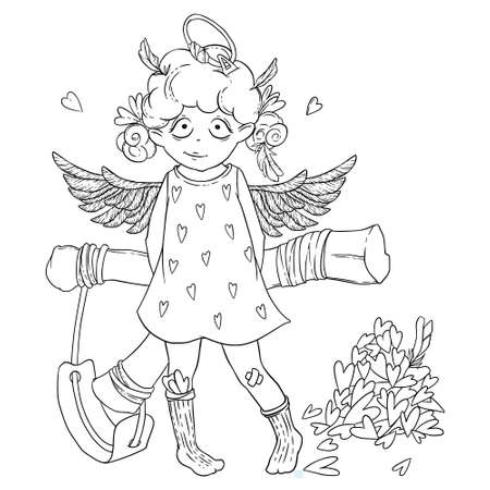 prankster: Valentines day. Naughty cute curly Cupid-girl with slingshot behind her back, wings and halo. Illustration