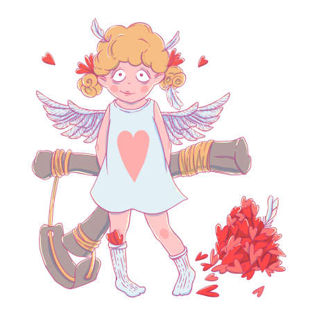 Valentines day. Naughty cute curly Cupid-girl with slingshot behind her back, wings and a bunch of hearts.