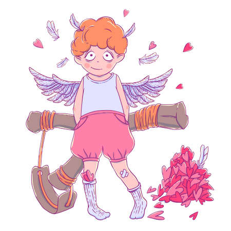 prankster: Valentines day. Naughty cute curly Cupid-boy with slingshot behind his back, wings and a bunch of hearts.