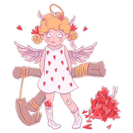 Valentines day. Naughty cute curly Cupid-girl with slingshot behind her back, wings and halo. Illustration