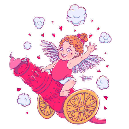 prankster: Valentines day. Funny Cupid-girl riding on a cannon firing hearts. Illustration