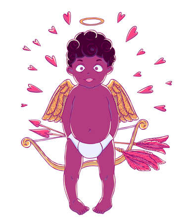 prankster: Valentines day. Funny african american Cupid-boy in pants with bow and arrows in his hands and golden wings. Hearts around. Vector illustration isolated on white background. Card. T-shirt print.