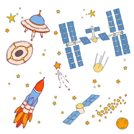 Illustration of UFO, flying saucer, satellite, rocket, stars, asteroid belt, space station, spaceship, comet and planet.