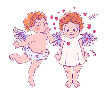 timorous: Valentines day. Cupid-boy cloud pants blowing kisses and hearts to surprised girl. A pair of angels.