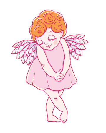 timorous: Valentines day. Confused Cupid-girl in dress. Vector illustration