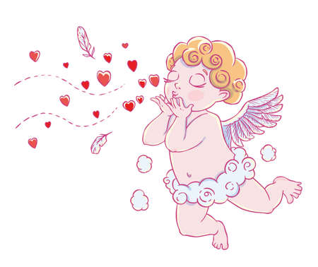 Valentines day. Cupid-boy in cloud pants and blowing kisses and hearts. Vector illustration