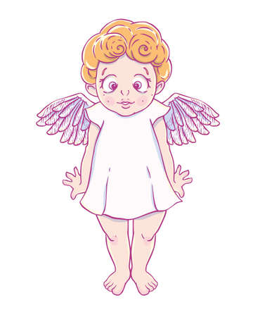 Valentines day. Confused Cupid-girl in dress. Vector illustration