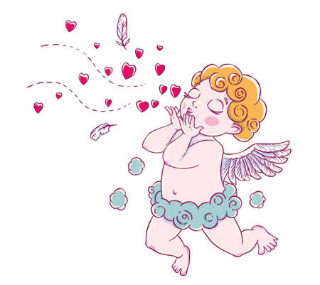 Valentines day. Cupid-boy cloud pants knelt and blowing kisses and hearts.