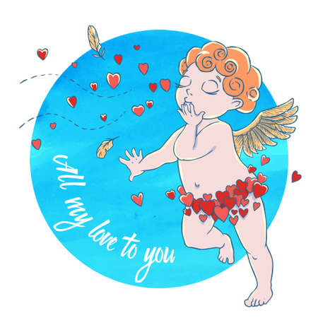 Valentines day. Cupid-boy in heart pants and blowing kisses and hearts on watercolor circle. Vector illustration Stock Photo