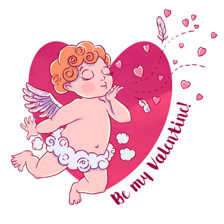 Valentines day. Cupid-boy in cloud pants and blowing kisses and hearts. Vector illustration isolated