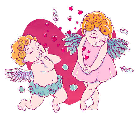 Valentines day. Cupid-boy cloud pants knelt and blowing kisses and hearts. Pair of angels.
