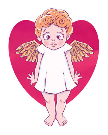 Valentines day. Confused Cupid-girl with gold wings and heart shape. Vector illustration