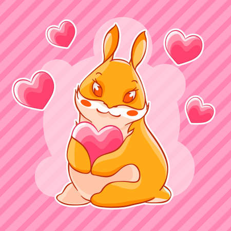 Valentine s day. Ginger rabbit holding a heart in his paws. Vector illustration