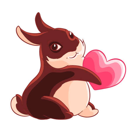 Valentine s day. Chocolate Bunny holding a heart in his paws. Vector illustration