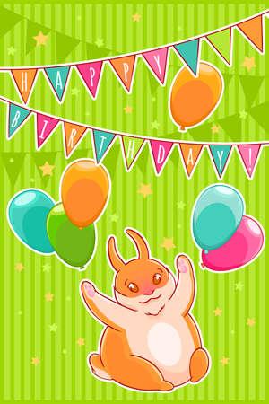 kiddie: Joyful rabbit and balloons. Confetti stars, flags and garlands. Happy Birthday. Vector illustration Illustration