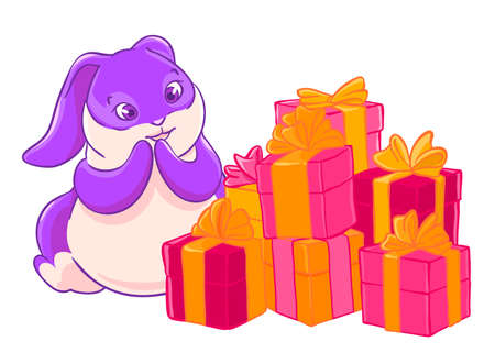 Cute lilac Bunny rejoices in the gift pile. Happy Birthday. Illustration