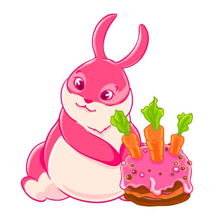 Cute pink Bunny and birthday cake. Vector illustration.
