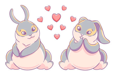 Fun loving couple bunnies.Vector illustration.