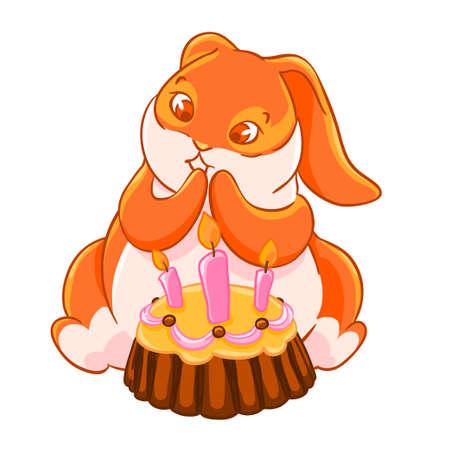 Joyful ginger Bunny and cake with carrots.Happy Birthday.