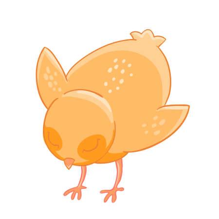 Little cartoon chicken pecks of grain.
