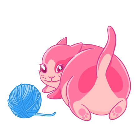 impish: Cute pink kitten plays with a ball of wool.