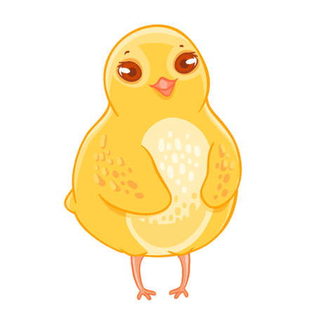 Humble funny cartoon chicken smiling.