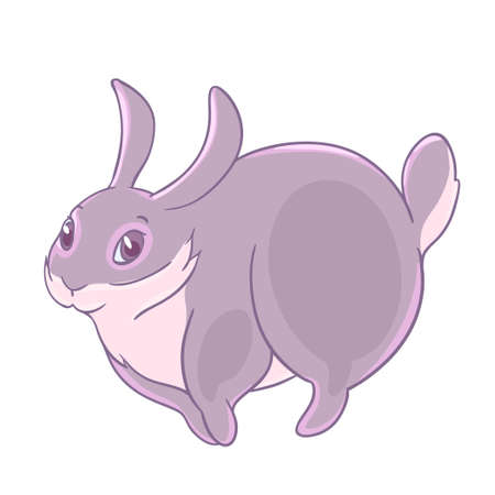 Shy playful gray Bunny jumping. Illustration