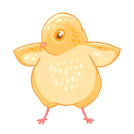 Yellow cute cheeper raised wings.