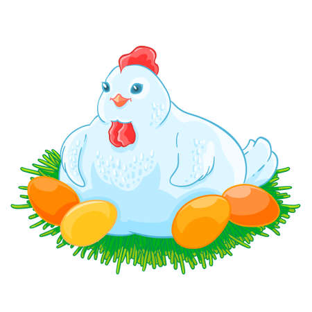 nestling: Mother hen is sitting the eggs hatch in the nest. Illustration
