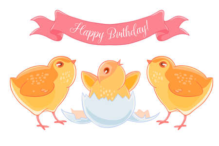 Two funny cartoon chick congratulations newborn yellow chicken. Illustration