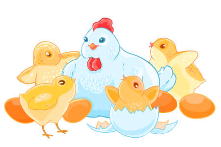 kiddie: Cartoon mother hen sits on the eggs. Brood of cute little Chicks.
