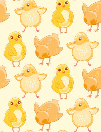 Seamless pattern with cute hand-drawn chicken on a beige background.