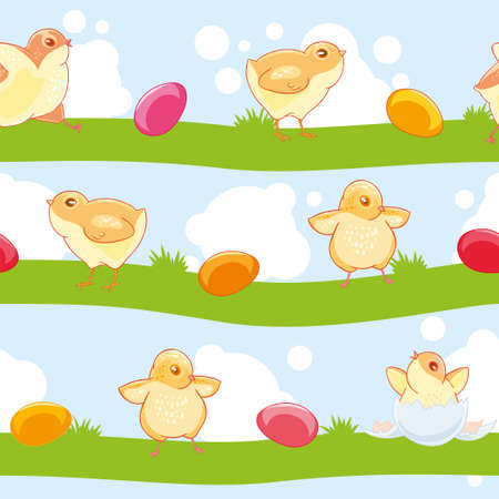 Easter seamless pattern with cute cartoon chickens and colored eggs on the background of lawn and sky.