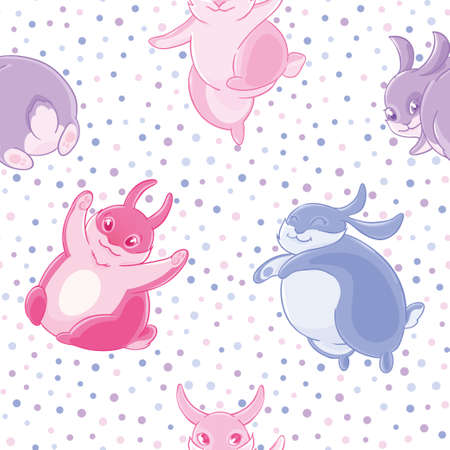 Seamless pattern with cute cartoon blue and pink little rabbits on cofetti background. Illustration