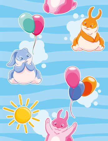 Seamless pattern with with funny rabbits painted colorful flying balloons on a background of sky and clouds. Illustration