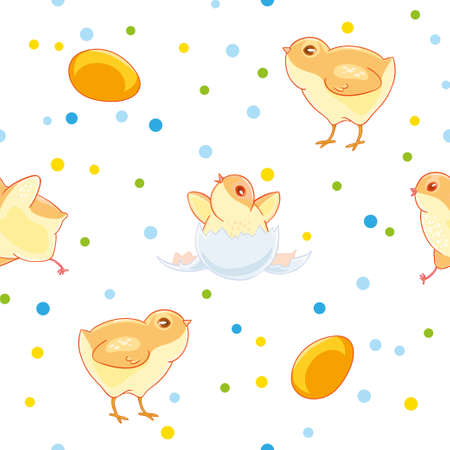 Easter seamless pattern with cute chickens and valuewise from the egg the chick on the background of colored confetti Illustration