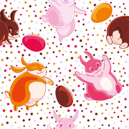 Easter seamless pattern with cartoon funny pink, yellow and chocolate rabbits and eggs on cofetti background. Illustration