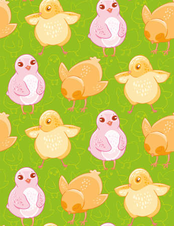 Seamless pattern with funny drawn yellow and pink chickens on green background