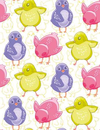 Seamless pattern with funny purple, pink and green cartoon chickens.