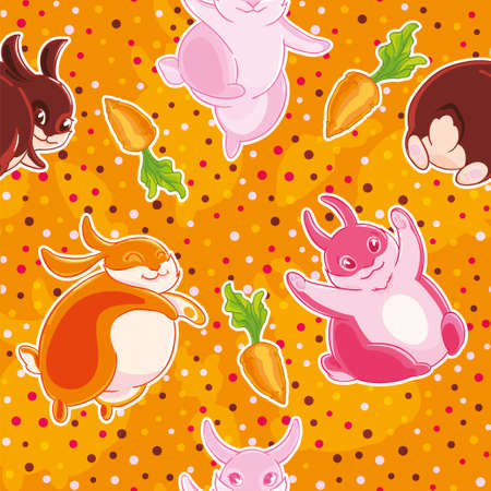 Seamless pattern with cartoon pretty rabbits and carrots on cofetti background.