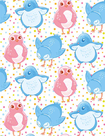 Seamless pattern with cute blue and pink little birds on cofetti background. Illustration