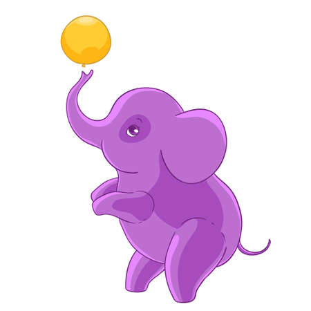 kiddie: Cool purple cartoon elephant standing on hind legs and playing balloon. Illustration