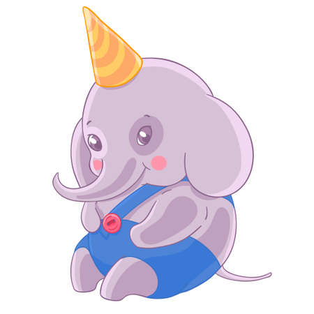 Shy boy elephant in birthday cap and blue panties.