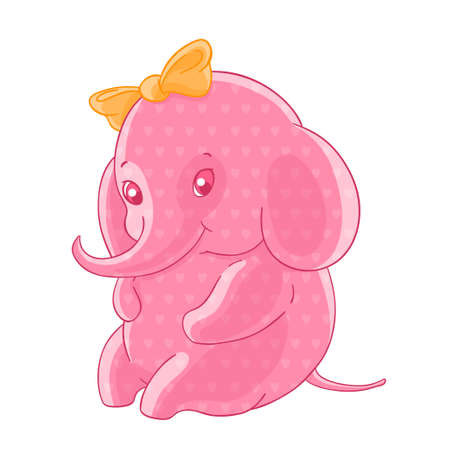 The blushing pink girl elephant in the hearts and a yellow bow on her head.