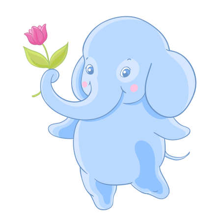 Funny blue cartoon elephant gives a flower.