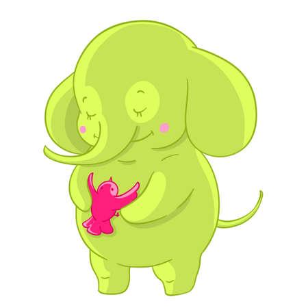 good weather: Green cartoon elephant hugs pink little bird. Friendship.
