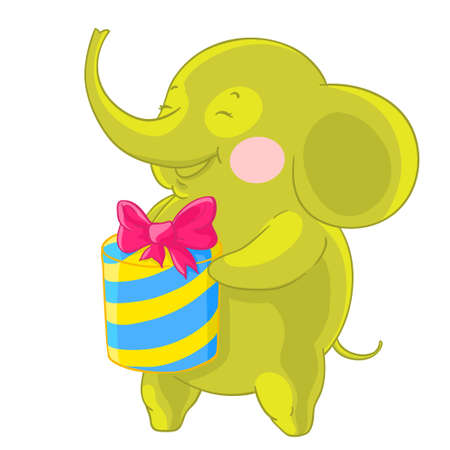 Cute green elephant laughs and rejoices at the gift in his hands.